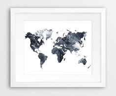 World Map Watercolor Printable File, World Map Silhouette Watercolor Grey Black And White - Modern Wall Art Home Office Decor Digital Print World Map Wall Art, World Map Poster, World Map Decor, Wall Maps, World Map Silhouette, Design Your Own Home, Water Color World Map, Watercolor Map, Modern Wall Art