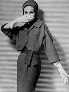 Denise Sarrault wearing a Jacques Heim suit, 1958. Georges Saad