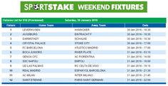 #SportStake Weekend Fixtures - 30 January 2016