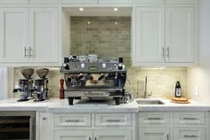 """beautiful white & green modern kitchen espresso bar deisgn ... espresso machine and wine fridge cooler."""