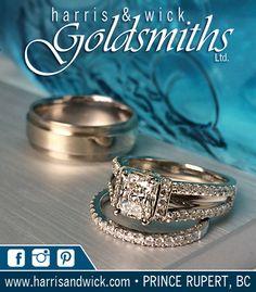 Bridal ad. Men's textured, white gold band. Ladies radiant cut split shank engagement ring with matching pin set diamond band.