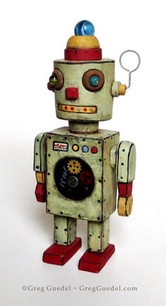 Vintage tin space toy inspired robot by Greg Guedel. could be a rubber stamp. Metal Robot, Metal Toys, Tin Toys, Vintage Robots, Vintage Tins, Vintage Ideas, Art Antique, Antique Toys, Steampunk Robots