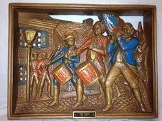 "Vintage ""The Spirit of 76"" Patriotic Independence Burwood Plaque Wall Hanging"