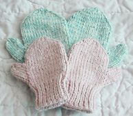 This two-needle mitten pattern features stockinette stitch. Embroider or duplicate stitch on top of them to create a personal touch. (Lion Brand Yarn)