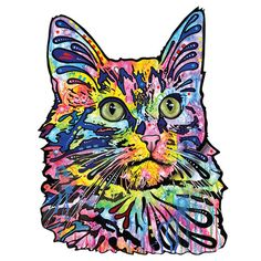 Angora Cat Wall Sticker Cut Out - Animal Pop Art by Dean Russo