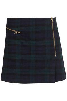 Check Zip Wrap Aline Skirt