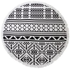 Superb Large Round Super Soft Aztec Print Beach Towel with Frilly Edge