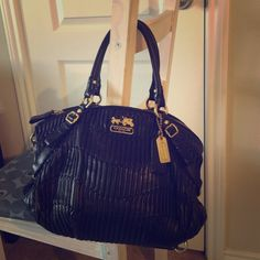 Coach Sofia ruched satchel Used a handful of times... Just like new! 23 centimeters high and 26 centimeters wide. Black with royal purple interior. Coach Bags Satchels