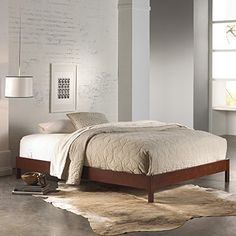 Midcentury Modern Fashion Bed Group Murray Platform Bed With Wooden Box  Frame, Mahogany Finish,