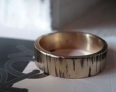 mens wedding band rustic fine silver and copper by MaggiDesigns