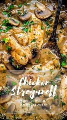 Everyone will fall in love with this Chicken Stroganoff – easy, quick and thoroughly yummy. No one will know that this is a Slimming World chicken recipe! Slimming World Dinners, Slimming World Chicken Recipes, Slimming World Recipes Syn Free, Slimming World Diet, Slimming Eats, Easy Chicken Recipes, Recipe Chicken, Slimming World Chicken Casserole, Easy Chicken Stroganoff Recipe