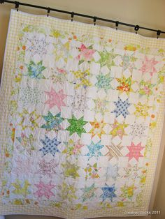 Star quilt made with vintage sheets