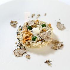 popEating - Risotto al tartufo estivo, crema di finferli gialli e neri con emulsione di mascarpone e spinaci