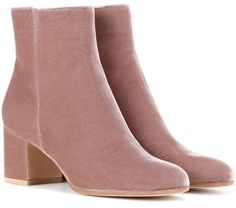 Gianvito Rossi Margaux Velvet Ankle Boots | Soft pink #need