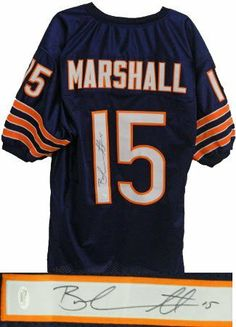 Brandon Marshall signed Chicago Bears Navy Prostyle Jersey- JSA Hologram by Athlon Sports Collectibles. $185.00. Brandon Marshall plays wide receiver for the Chicago Bears. He was selected by the Denver Broncos out of the University of Central Florida, with the 119th overall pick in the fourth round of the 2006 NFL Draft. Marshall is known for his ability to break and dodge tackles. On March 13, 2012, Marshall was traded from the Miami Dolphins to the Chicago Bears fo...