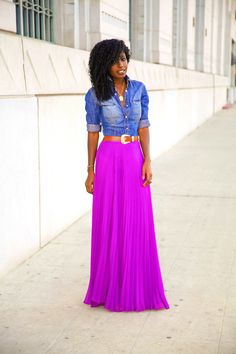 Style Pantry | Fitted Denim Shirt + Pleated Maxi Skirt