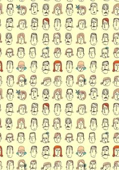 idea: draw a hundred mini faces that are all different