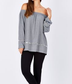 Threadz Off Shoulder Top Off Shoulder Tops, Lace Detail, Tunic Tops, Stylish, Long Sleeve, Winter, Pretty, Fabric, Sleeves