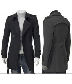 Hillingdon    This is a thick, fully lined classic long wool/polyester coat with double buttoned cuffs, button shoulders and 4 buttons in the front. Belt included. Availble in black and grey XS-L