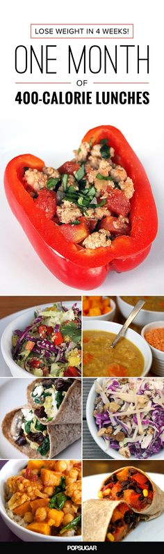 This plan maps out four weeks, Monday through Friday, with each day's meal consisting of 400 calories or fewer. There's a theme for each week to keep your taste buds from getting bored, complete with simple recipes you can whip up the night before.  The best way to weight loss in 2016! - Look here! #healthyrecipe #weightlosefast #weightlosesmoothies #weightlosemealplan