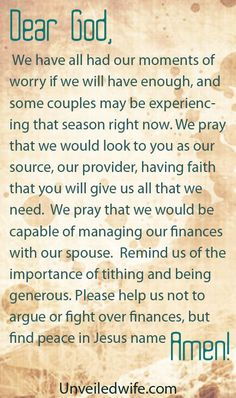 Prayer Of The Day – Managing Finances With Your Spouse by @unveiledwife