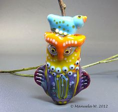 Etsy Transaction - A Warm Home - Bird and Owl Bead - handmade lampwork glass focal bead by Manuela Wutschke