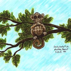 No.119 Monkey Peanut / Illustration / Daily Doodle - Art Print #dailydoodle #doodle #sketch #drawing #art #illustration #peanut #monkey