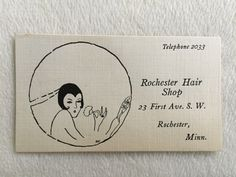 Vintage ROCHESTER HAIR SHOP Business card FLAPPER GIRL Art deco Minn Minnesota FOR SALE • $9.99 • See Photos! Money Back Guarantee. WoW!!! Straight from a local estate comes this OLD-TIME business card for ROCHESTER HAIR SHOP located in ROCHESTER, MINN. You'll love the content and detail. Condition is nice for age. 172441884832