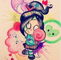 Spooky, but sweet! Cartoon Tattoos, Disney Tattoos, Cartoon Drawings, Cartoon Art, Cute Zombie, Zombie Art, Psycho Tattoo, Boss Tattoo, Zombie Tattoos