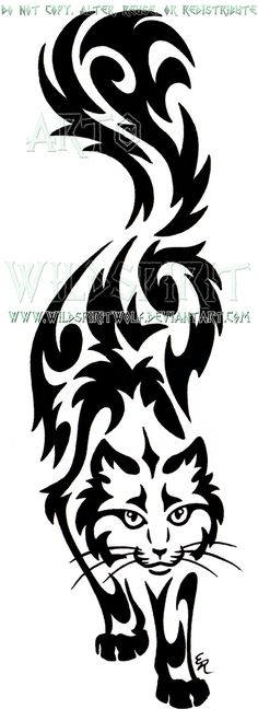 Prowling Sherlock Cat Tribal Design by WildSpiritWolf.deviantart.com on @DeviantArt