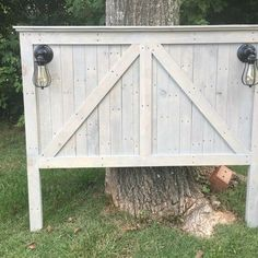 Farmhouse Queen size headboard with lights.  Handcrafted from repurposed…