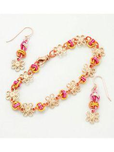 New Patterns & Supplies - Linked Fates & Flowers Earring & Bracelet Kit