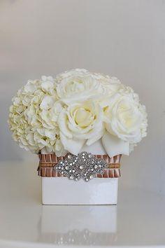 Rose + Hydrangea; I LOVE this so much!!  You might not like it for our event, but I just love it.  The colors could be changed and maybe the color of the vase.