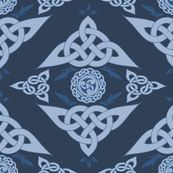 Celtic Triquetra Damask Royal Blue by angelyques