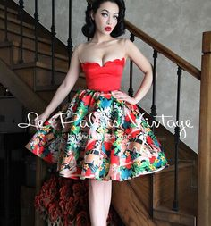 Le Palais vintage sweet PIN UP limited edition red shells corset western girl floral dress