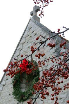 Marquette University's St. Joan of Arc Chapel at Christmastime Saint Joan Of Arc, St Joan, Marquette University, Christmas Wreaths, Christmas Tree, Postcards, Holiday Decor, Teal Christmas Tree, Xmas Trees