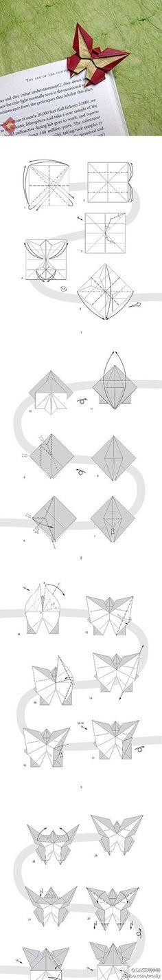 折纸 书签 折纸蝴蝶书签