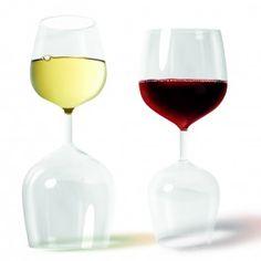 Rood en wit wijnglas