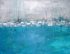 Painting Acrylics Collage Acrylmalerei malen lernen abstrakt Türkis-Grau...