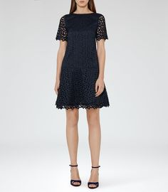 Mae Night Navy Drop-Waist Lace Dress - REISS