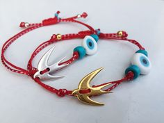 Excited to share this item from my shop: Swallow bracelet Spring jewelry Evil eye bracelet Bird jewelry March bracelet Greek Martis bracelet Red white bracelet Martisor Martenitsa Bird Jewelry, Cross Jewelry, Keep Jewelry, Anklet Designs, Evil Eye Charm, Evil Eye Bracelet, Bracelets For Men, Bracelet Making, March