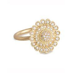 Jamie Wolf Diamond Sunflower Ring ($4,060) ❤ liked on Polyvore featuring jewelry, rings, round diamond ring, diamond jewellery, round ring, flower jewelry and diamond rings