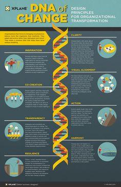 Infographic: DNA of Change: Design Principles for Organizational Transformation It Service Management, Business Management, Business Planning, Change Management Models, Management Styles, Business Ideas, Design Thinking, Service Design, Organizational Design