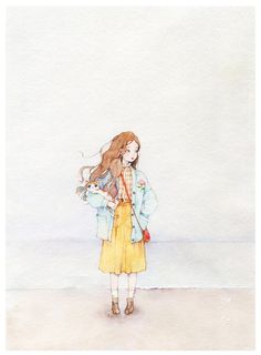 海边吹来咸咸的风-那仁_水彩,手绘,女孩,猫咪,海_涂鸦王国插画