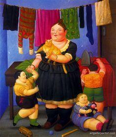 Fernando Botero - La Veuve (peinture d'une mère et ses enfants, et son chat), 1997.