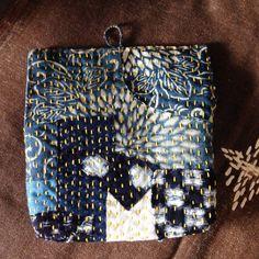 Boro Sashiko mini Pouch/antique indigo blue by JapaneseBOROshop