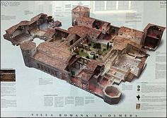 Reconstruction of the Olmeda Roman Villa, Spain. La Olmeda Roman Villa is a well-preserved cent. CE Roman home in Palencia in Spain. Spanning square metres and comprised of 27 rooms, La Olmeda Roman Villa is best known for its mosaics, the most Roman Architecture, Ancient Architecture, Roman History, Art History, Ancient Rome, Ancient History, Architecture Romaine, Villa Romaine, Roman Republic
