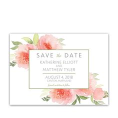 Watercolor Coral Floral Wedding Save the Date Cards featuring bohemian style watercolor florals with coral, peach and blush wedding accents and greenery.