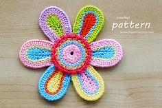 Crochet Pattern - Colorful Crochet Flower (Pattern No. 059) - Pattern With Detailed Step-By-Step Photo Tutorial - INSTANT DIGITAL DOWNLOAD