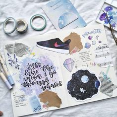 "1,137 Likes, 4 Comments - Notebook Therapy (@notebook_therapy) on Instagram: ""Beautiful Galaxy themed spread by @irukastudies ✨☄I am in love with those trainers!  we also have…"""
